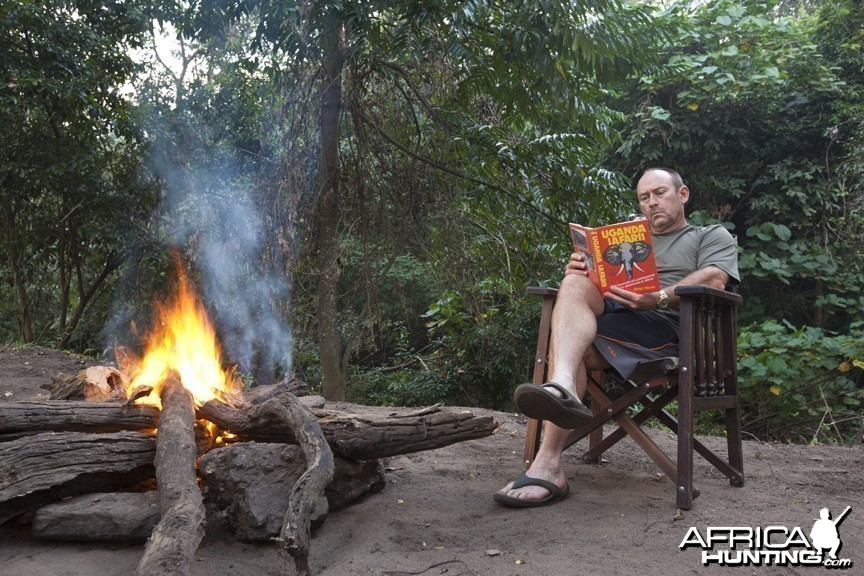Reading Brian Herne by campfire