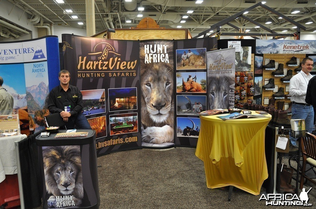 Hartzview Hunting Safaris booth at the Dallas Safari Club convention