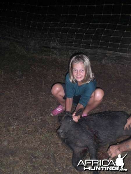 My daughter's wild boar shot at 164 meters standing, not bad!