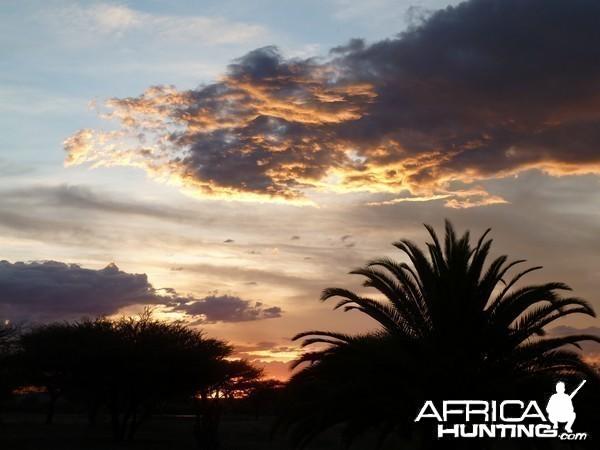 Sunset at Ozondjahe Hunting Safaris in Namibia