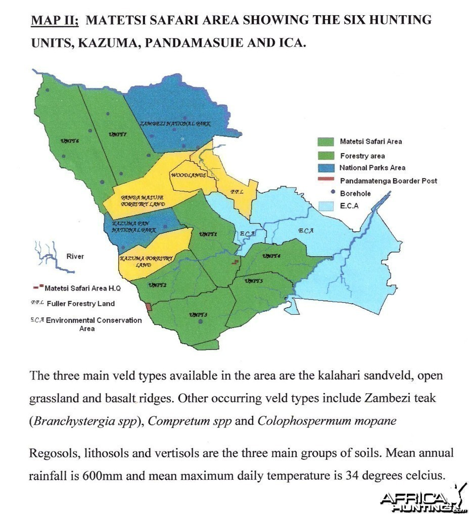 Map of the Matetsi Safari Area in Zimbabwe