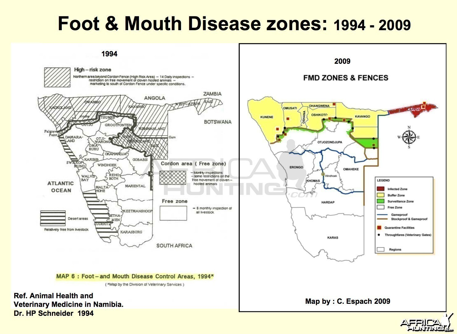 Foot & Mouth Disease Zones in Namibia 1994 -2009
