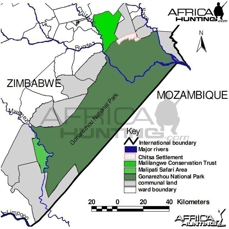 Map of the Gonarezhou National Park in Zimbabwe