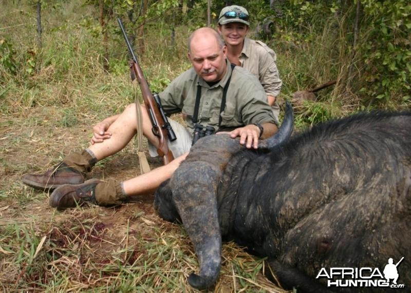 Nice old Buffalo bull hunted in Zimbabwe
