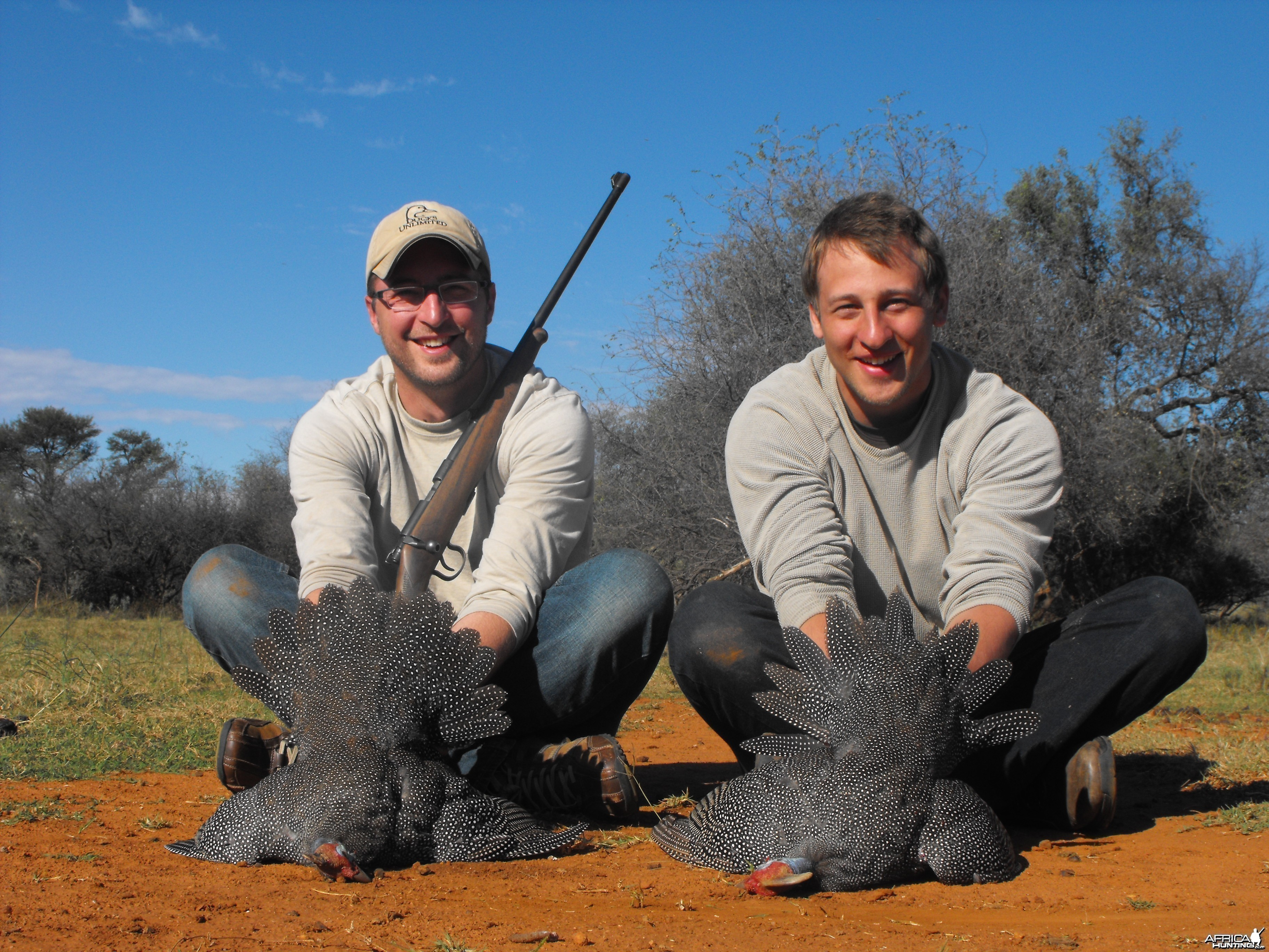 "Us doing a little bit of ""turkey"" hunting - South African style!"