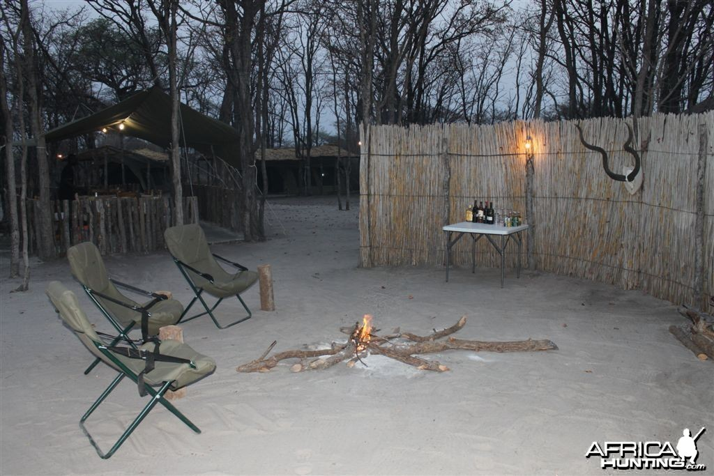 Camp fire in Caprivi Namibia