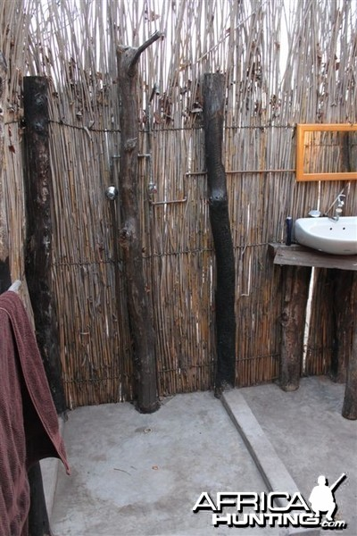 Hot water shower at tented camp in Caprivi Namibia