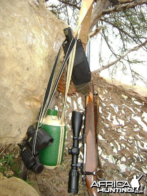 Hunting equipment in blind