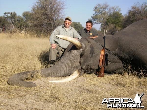 dietmar with elephant, zimbabwe august 2010