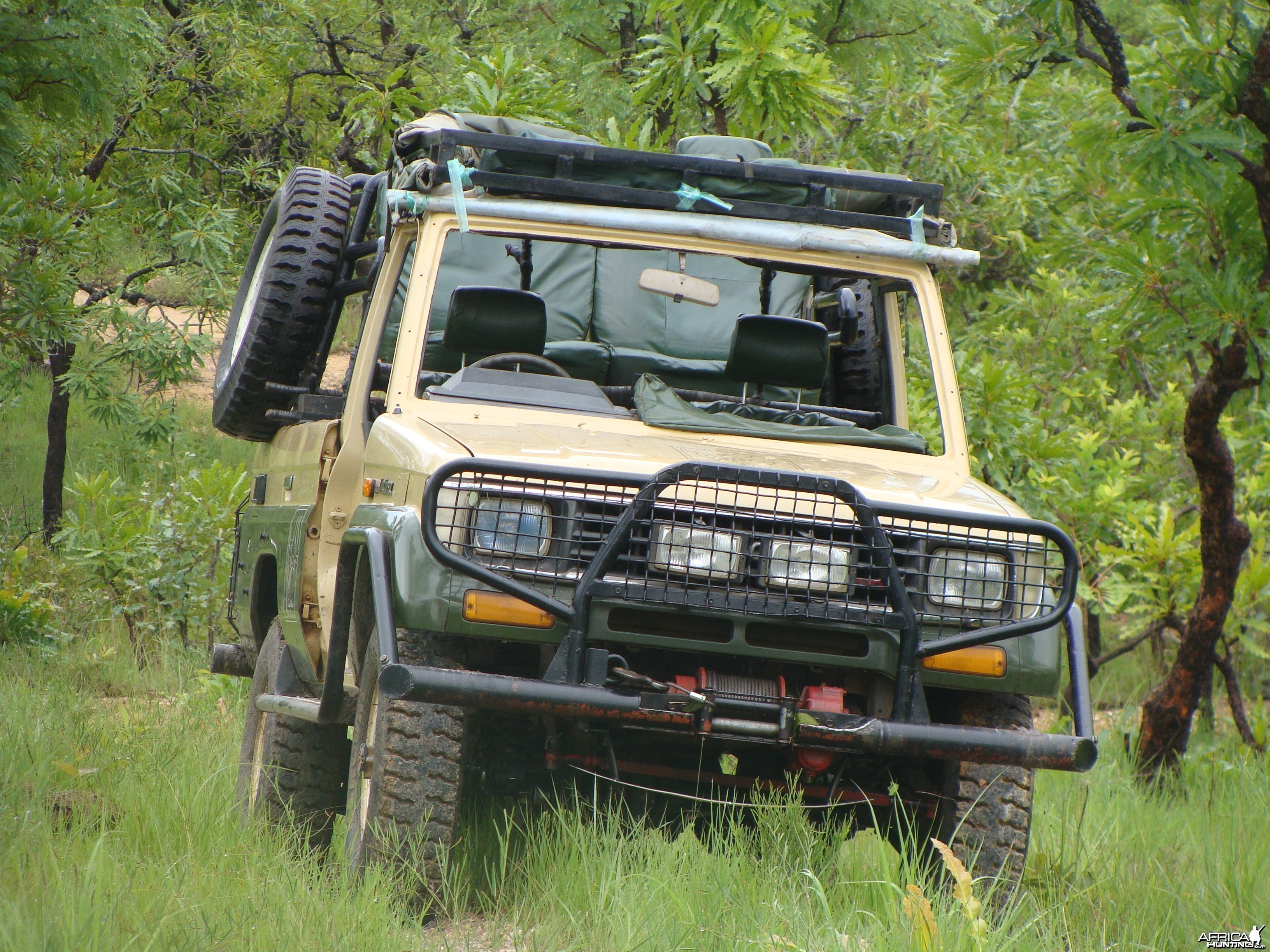 One of three hunting vehicles of Central African Wildlife Adventures