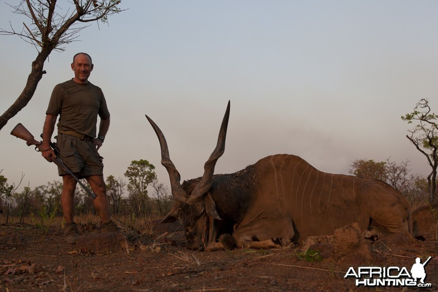 Lord Derby eland hunted in CAR with Central African Wildlife Adventures
