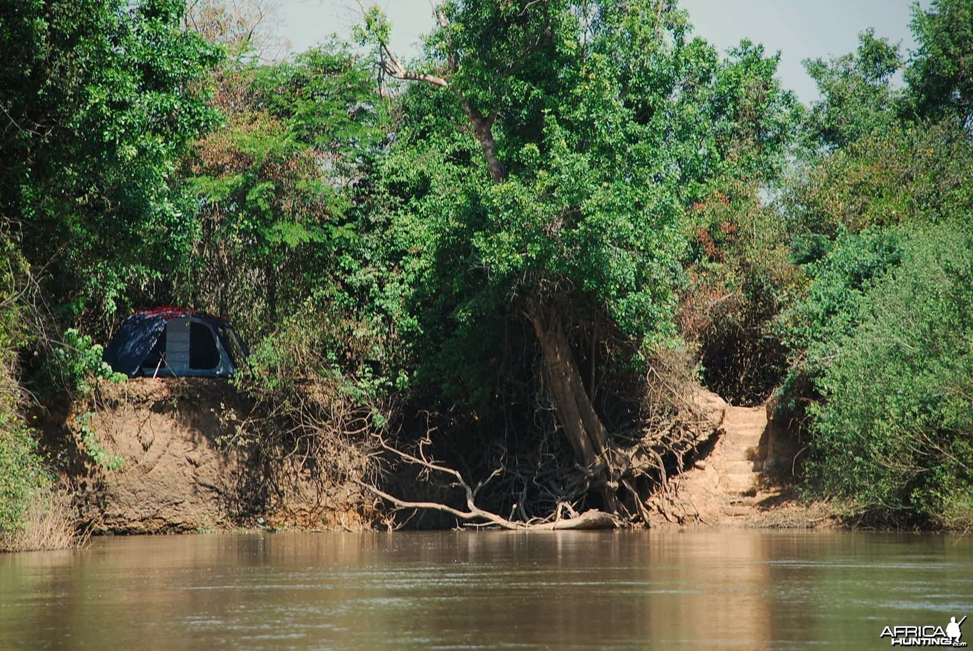 View from river Bongo of fly camp in CAR with Central African Wildlife Adve