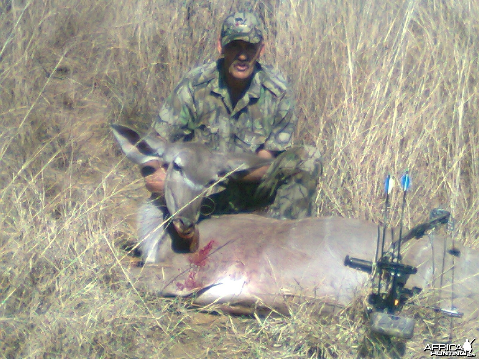 Oom Danie and his kudu cow with bow