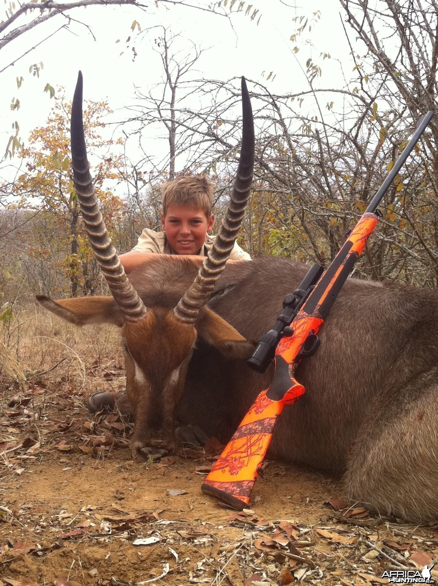 My son nice Waterbuck hunted in Zimbabwe