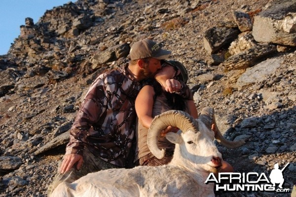 My wife with her Dall Sheep hunted in Alaska