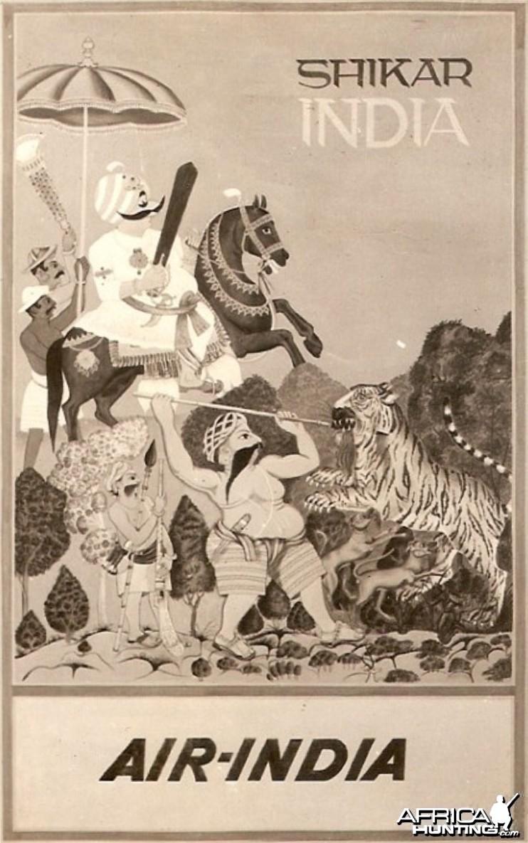 Air India Tiger Hunting Print Ad ca 1970