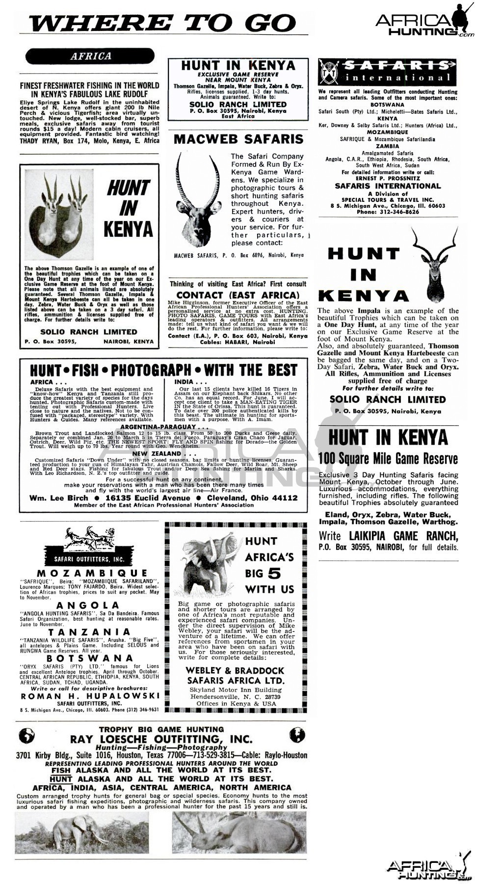 Compilation of Old Ads Promoting Hunting in Kenya