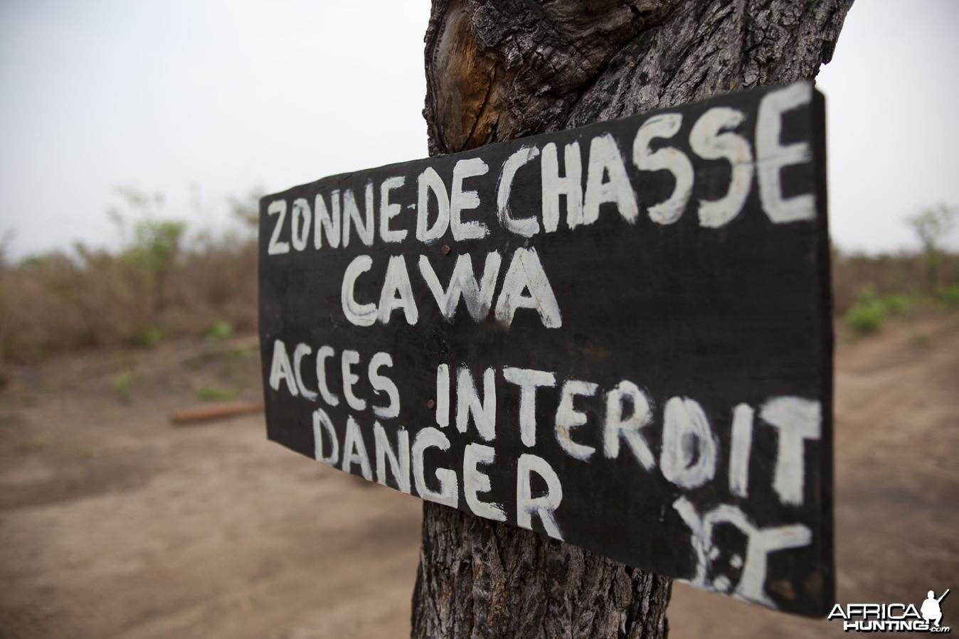 CAWA sign... Zonne de Chasse Acces Interdit Danger