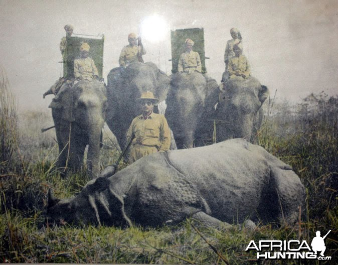 Hunting Rhino in India ca 1950