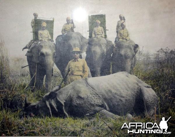 Hunting Rhino in India ca 1950