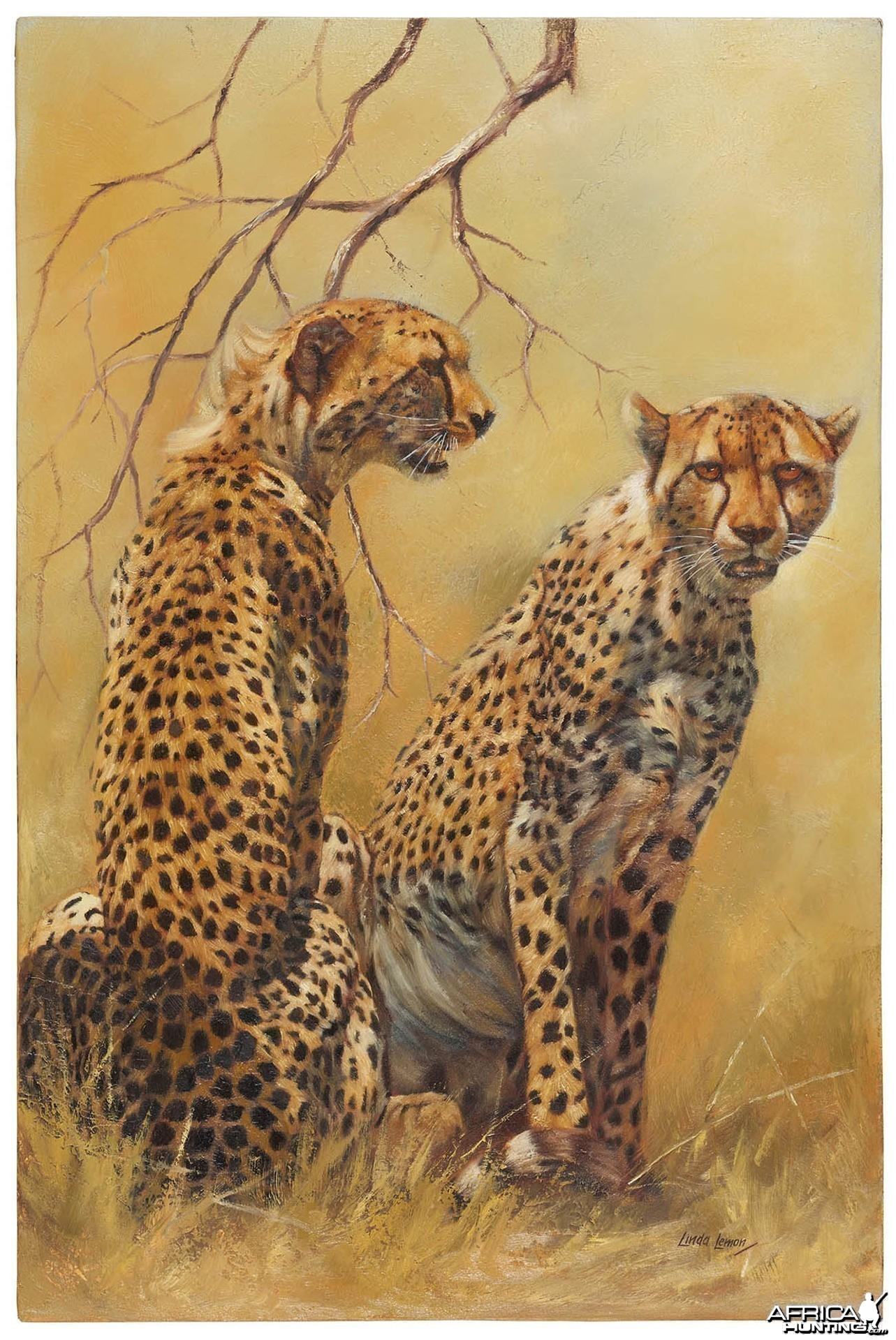 Cheetah Pair by artist Linda Lemon, Original Oil, 90x60cm