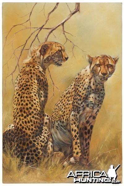 Cheetah Pair by artist Linda Lemon, Original Oil, 90x60cm