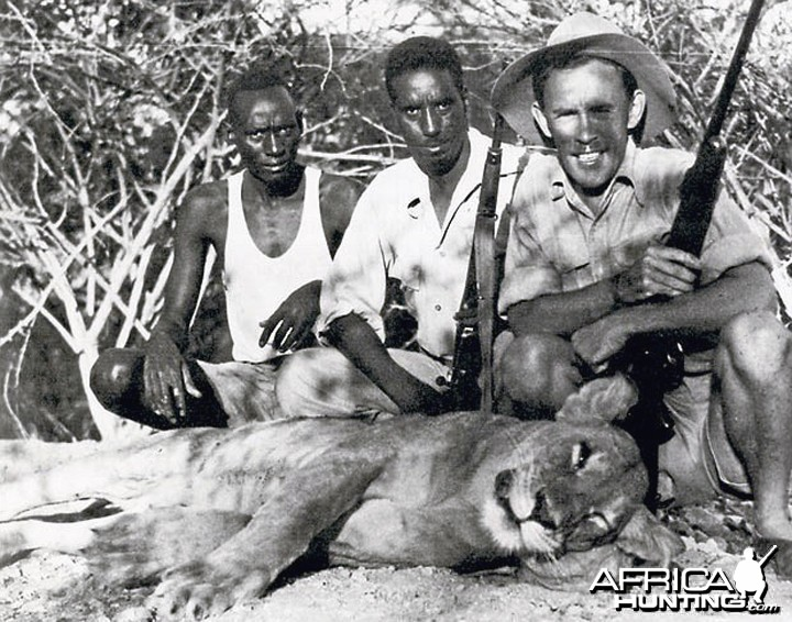 Big-Game Hunter John Kingsley-Heath with a stock-killing lioness he shot in