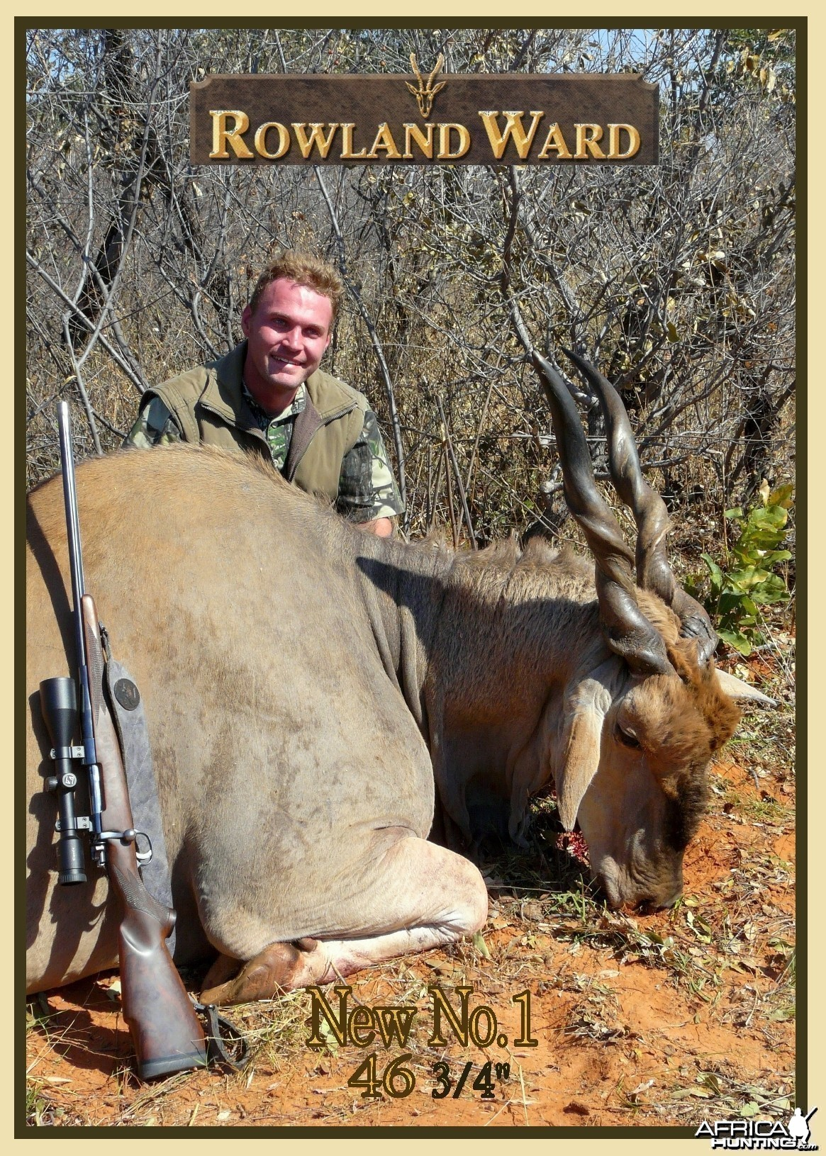 "New Rowland Ward Record Cape Eland 46 6/8"" hunted in Namibia by Charl"