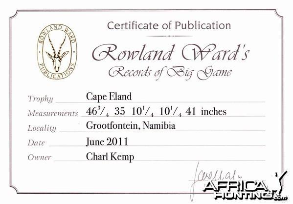 Cape Eland Rowland Ward Record Certificate