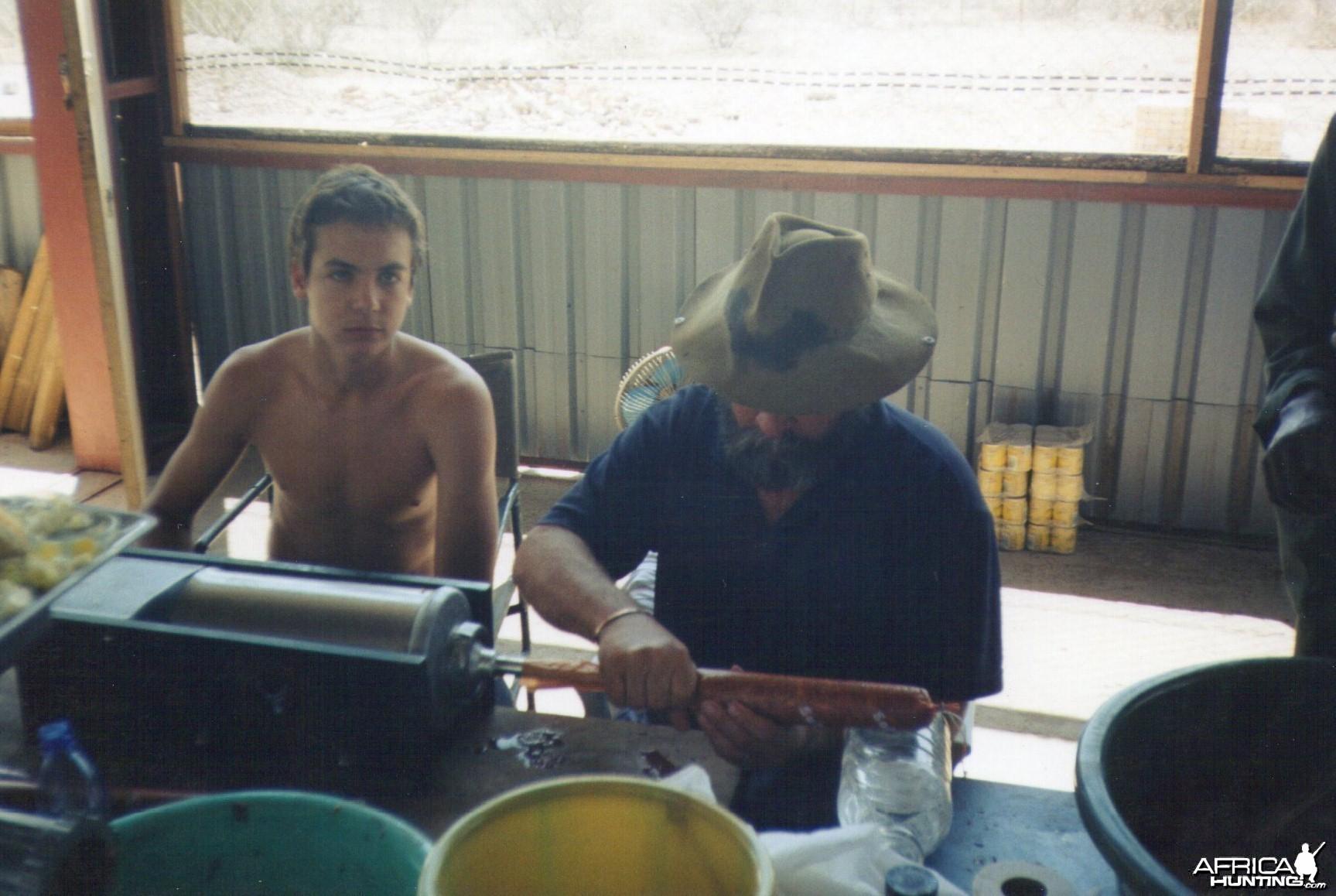 Making salami after the hunt