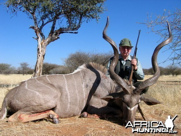 "Holstein Hunting Safaris Namibia - Client with 54"" Kudu"