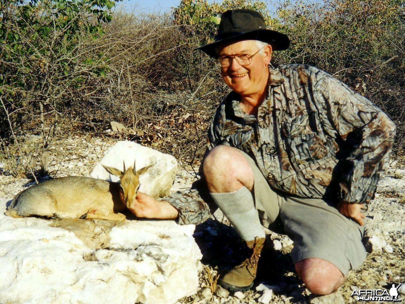 Holstein Hunting Safaris Namibia -client with a Damara Dik Dik