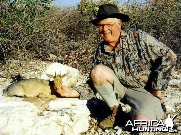Holstein Hunting Safaris Namibia -client with a Damara Dik Dik