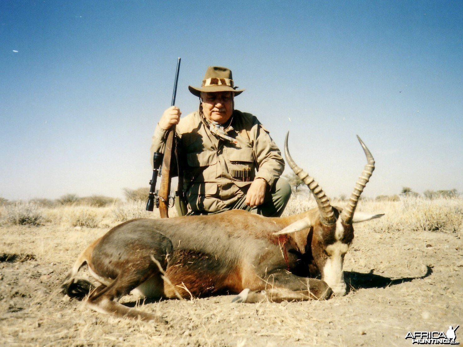 Holstein Hunting Safaris Namibia -client with a Blesbuck