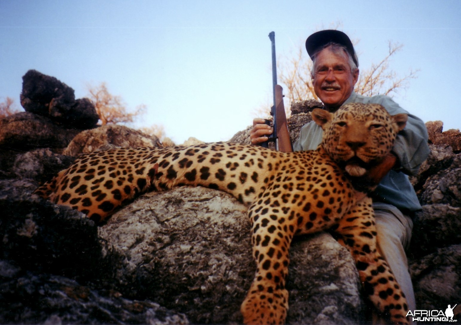 Holstein Hunting Safaris Namibia- client with a big Leopard