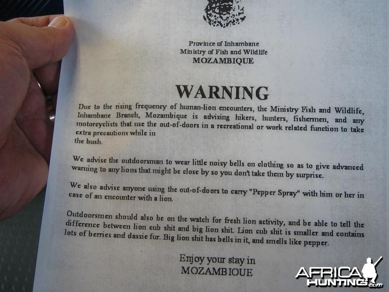 LION WARNING MOZAMBIQUE
