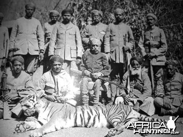 Maharana Bhupal Singhji of Udai with Tiger