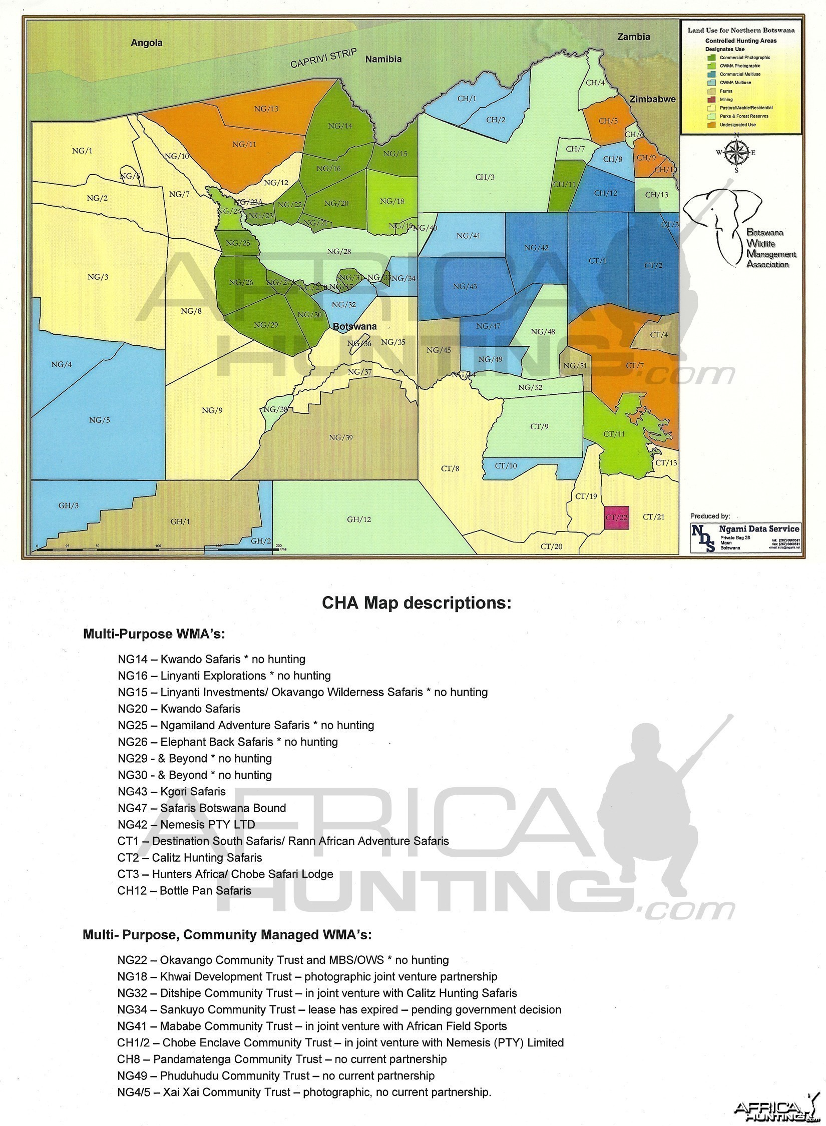 Hunting Area Map for Botswana