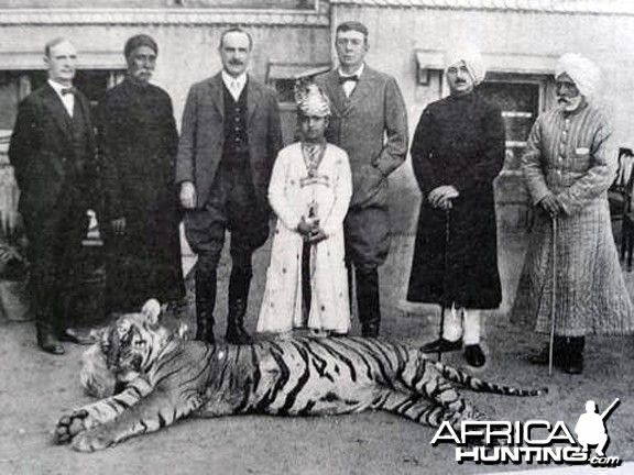 Maharaja Man Singh IInd (Jai) of Jaipur with his first TIGER at age 10
