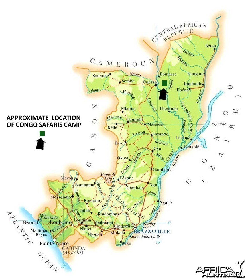 Hunting area map in Congo