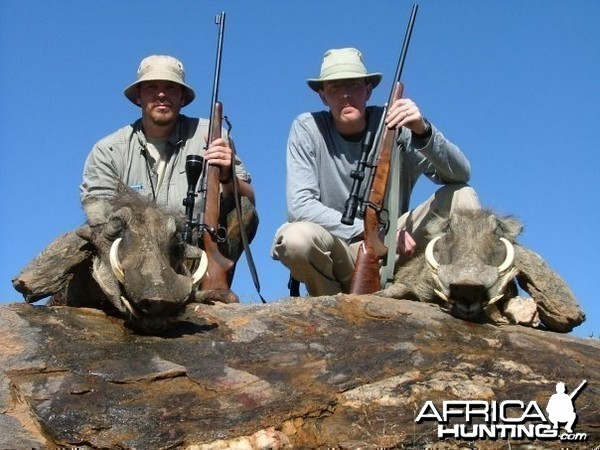 Namibia with a couple warthogs