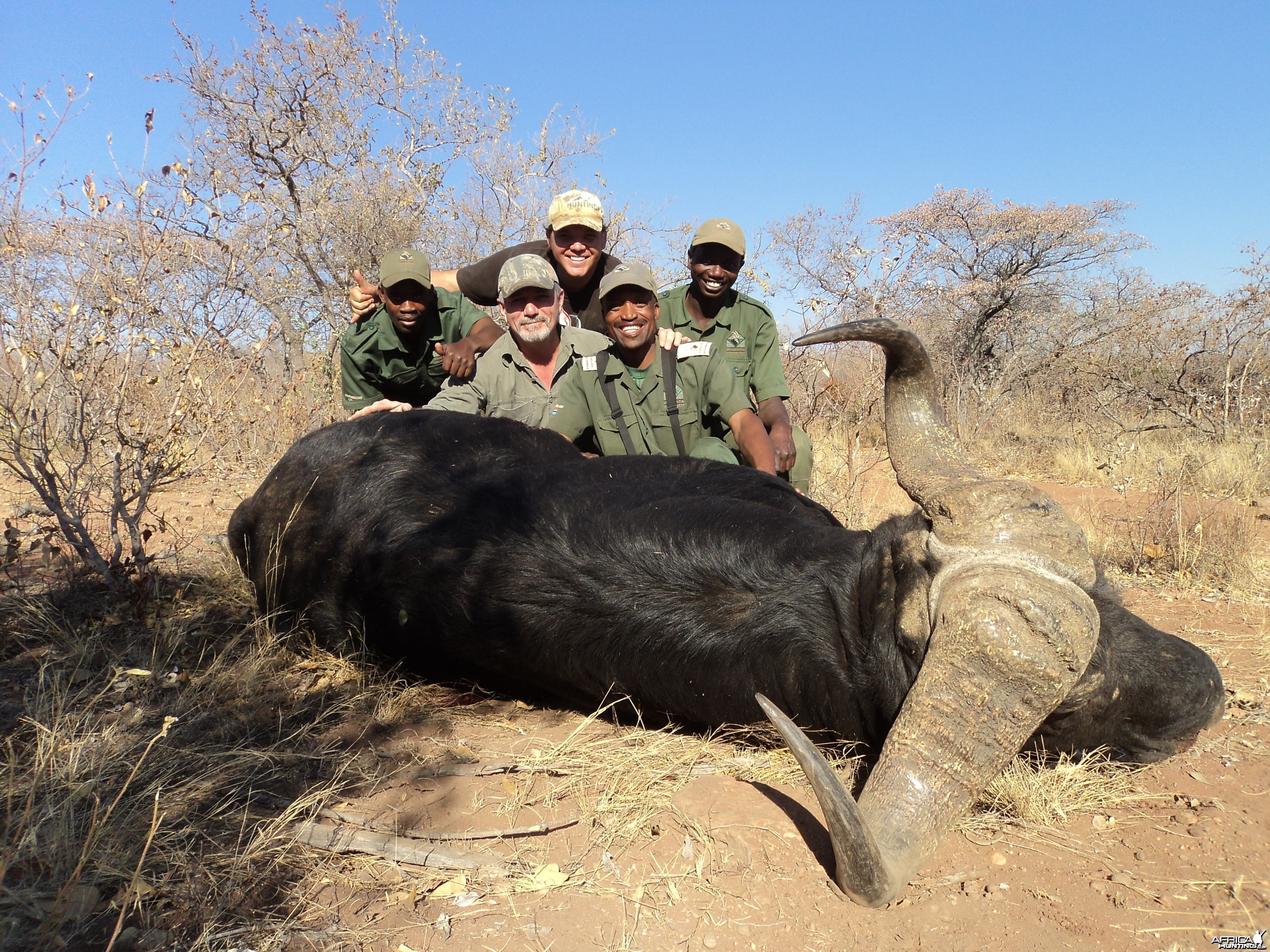 Kwalata Buff. with tracker Joe, JG, PH Jaco Strauss, tracker Poni & app