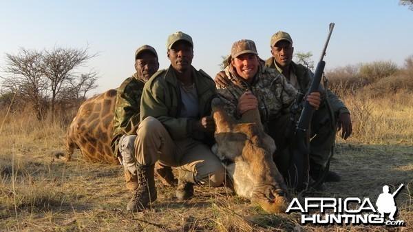 Giraffe hunted with Ozondjahe Hunting Safaris in Namibia