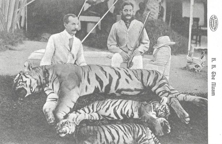 H.H. Nizam Asaf Jah VI Tiger Hunt Hyderabad India 1906