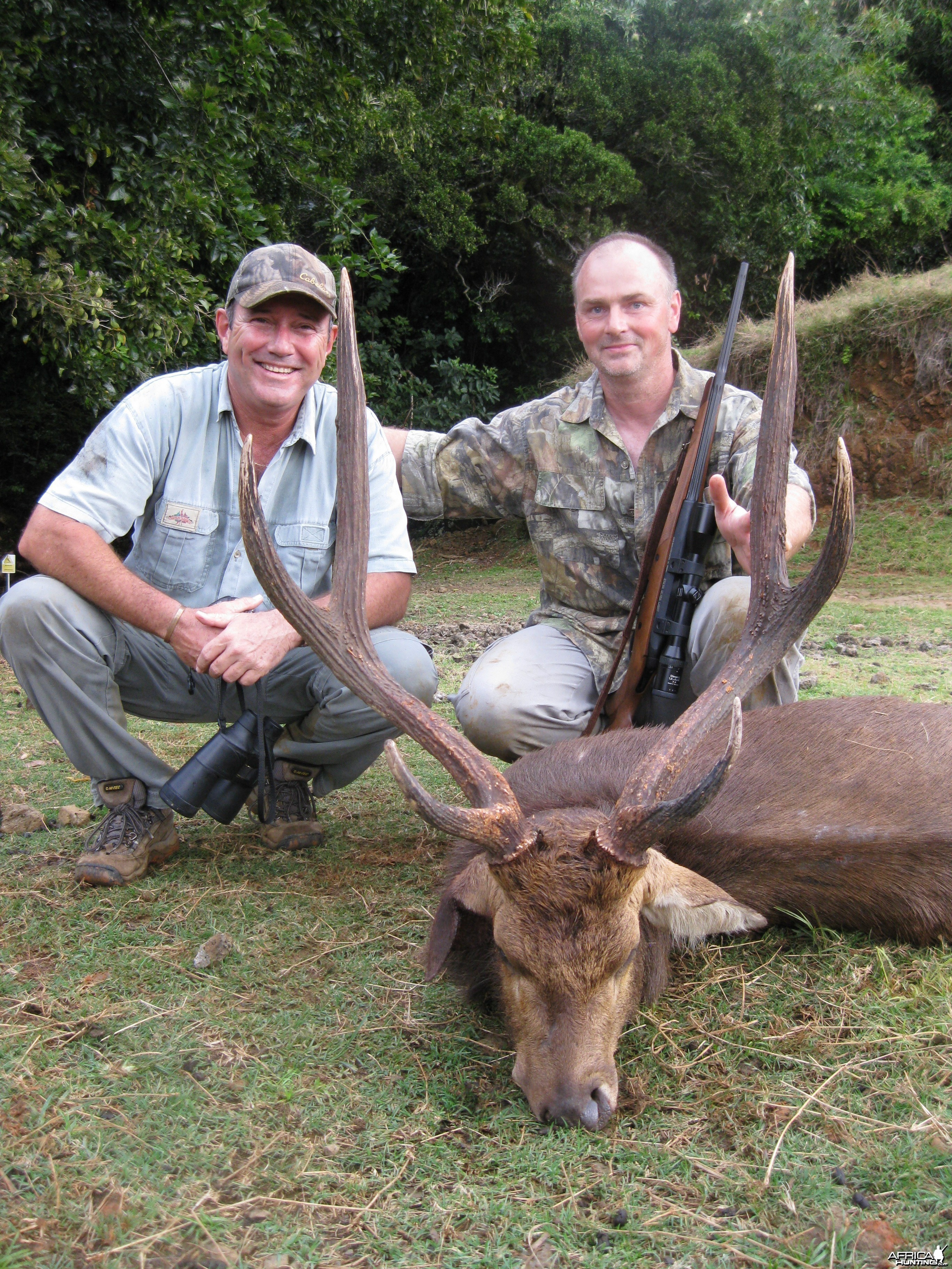 My friend Frank and I with his beautiful 34'' Rusa trophy
