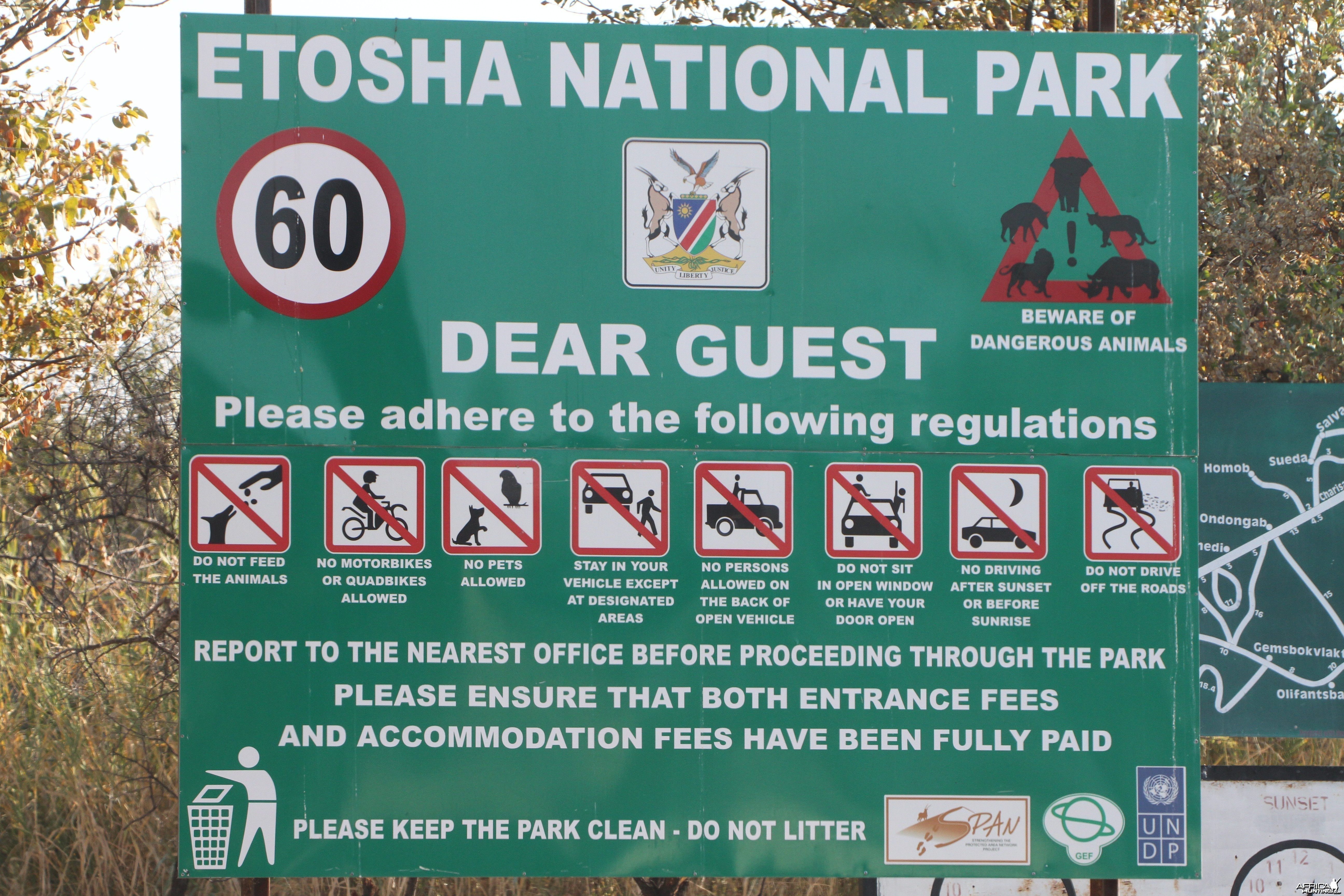 Sign at Etosha National Park