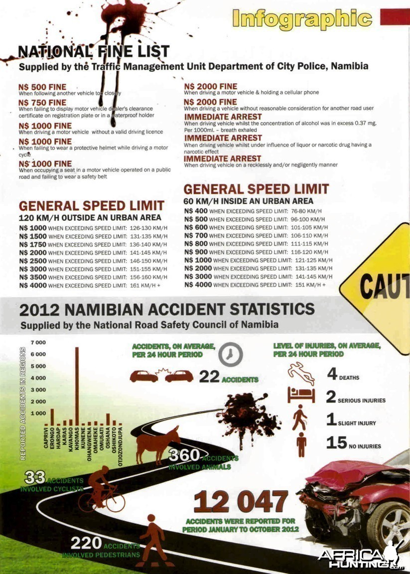 Namibia Fine List and Accident Statistics