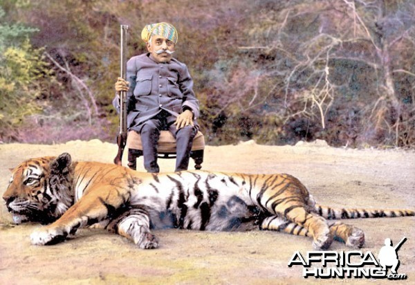 Maharaja Bhupal Singh with Tiger