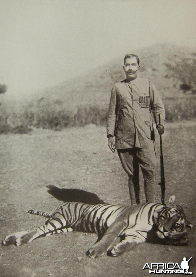 The Maharajah of Bikaner with his 100th tiger