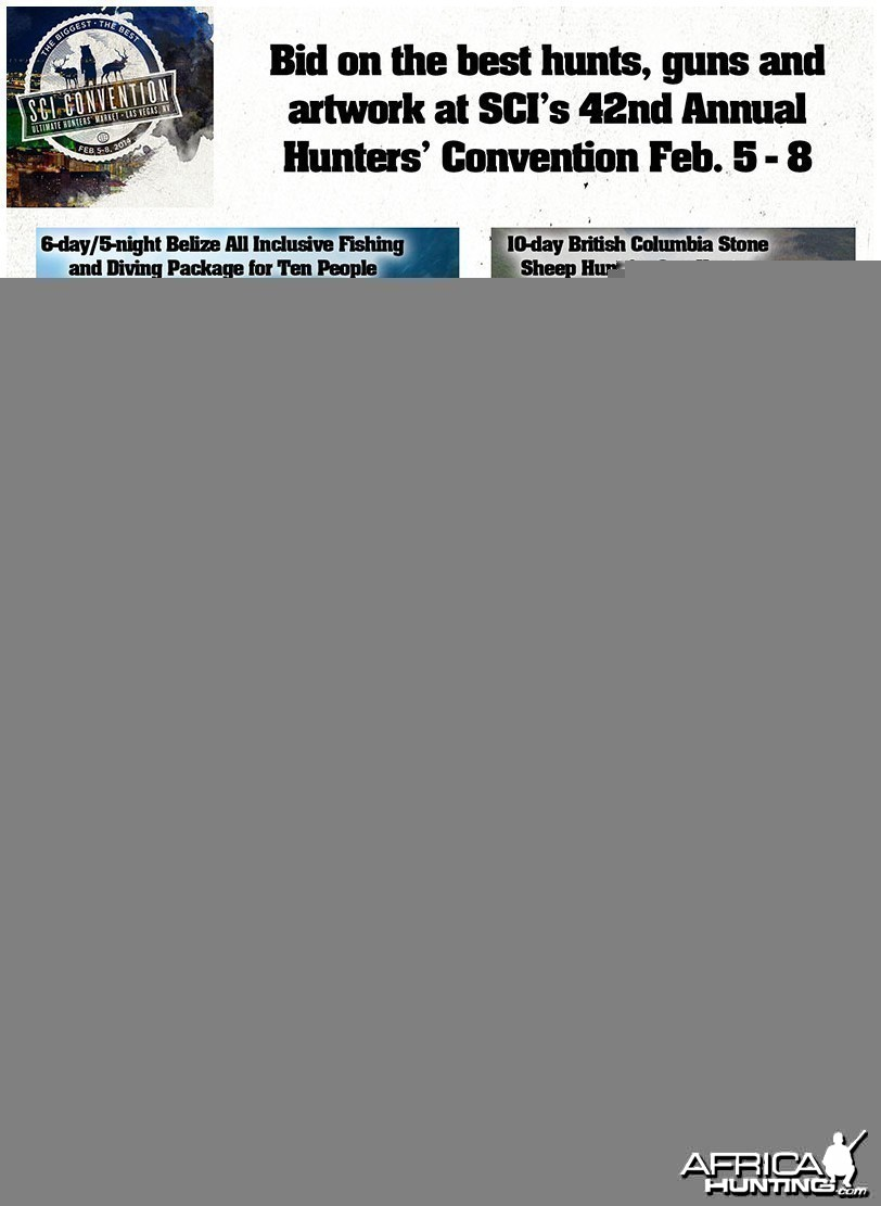 Bid on the best hunts and items at SCI's 42nd Annual Convention